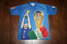 RARE! ITALIA Italy 4 time WORLD CUP CHAMPION 2006 Blue PHOTO JERSEY SHIRT Sz S