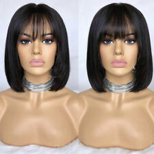 Real Deluxe Short Bob Straight Wigs 100% Pure Indian Human Hair Wig with Bangs h