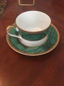 FABERGE  Imperial Court Malachite Tea Cup & Saucer 24k Gold Trim
