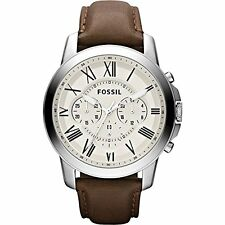 Fossil Grant Chronograph Beige Dial SS Leather Quartz Mens Watch FS4735