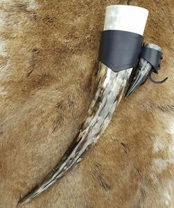 SET of DRINKING HORN SMALL Shot Horn on Leather HOLDER Natural