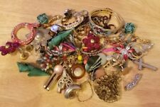 VTG JUNK JEWELRY MAKING LOT BEADS NECKLACES EARRINGS CRAFT METAL GOLD TONE PINK