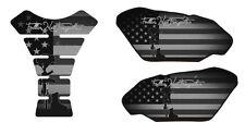 Motorcycle Tank Pad Side Set 3D Gel Fallen Soldier Black Protector Side Guard