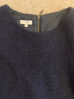 HOBBS Ladies Wool Blend Top Navy Blue Size 14 Short Sleeve