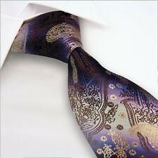 GIFTS FOR MEN Classic Mens Paisley Floral Silk Necktie Tie Gold Purple Brown