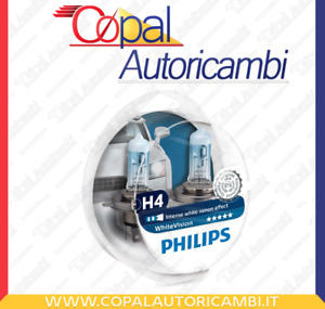 Kit 2 Lampade Philips H4 White Vision +2 lampadine posizione Effetto Xenon 3700K