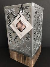 Yankee Candle COASTAL SANDS Matte Metal & Wood Sm Lantern Jar Candle Holder NIB