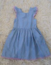 Girls Gap embroidered blue/pink dress w/ ruffle sleeves size S (6)