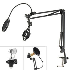 Microphone Suspension Boom Arm Stand Mic Holder Mount Pop Filter and Table Clip