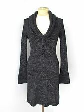 White House Black Market Sparkly Silver Sweater Knit Cowl Dress Flare Cuffs XS
