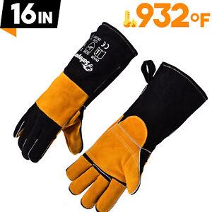 SAFEYEAR Welding Gloves Fire Heat Resistant 932°F/500 °C Welding BBQ Hand Arm