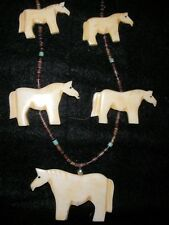 Native American Indian Sterling Silver Bone Fetish Horse Necklace Turquoise art