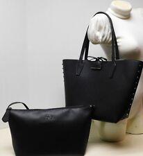 Guess Signature Reversible Studded Black 2pc Shoulder Bag Handbag Tote Purse NWT