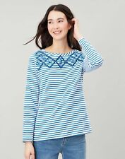 Joules Womens Harbour Luxe Long Sleeve Jersey Top - Lemon Cutout Stripe