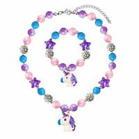 Chunky Bubblegum Unicorn Necklace Bracelet Set Little Girls Jewelry