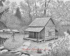 """Art Print of graphite drawing 8"""" x 10"""" log cabin in woods signed"""