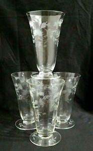 Vintage Etched Ribbed Depression Wine Iced Tea Glasses Set Of 4