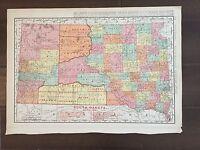 "Large 15"" X 21"" COLOR Rand McNally Map of South Dakota  (1905)"