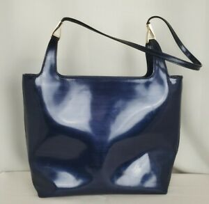 Vintage Gucci Blue Glossy Patent Leather Satchel Bag