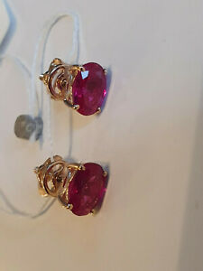 Lab. corund ruby stud earrings Russian solid rose gold 585 14k oval stone NWT