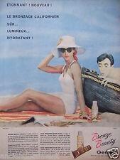 PUBLICITÉ 1958 BRONZE BEAUTY DE GEMEY LE BRONZAGE CALIFORNIEN - ADVERTISING