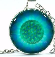 New Radiance Flower of Life Necklace Mandala Pendant - Silver A bf