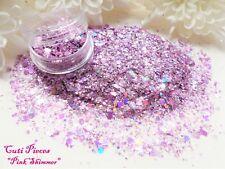 Nail Art *Pink Shimmer* Fine Cut Myler Shard Hexagon Holographic Mix Glitter Pot