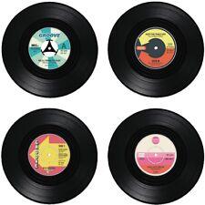 4 Glasuntersetzer Schallplatte Untersetzer Bierdeckel Set Grove Music Retro NEU