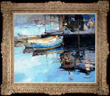 """Hand-painted Original Oil painting art knife Landscape boat On Canvas 20""""x24"""""""