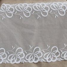 Adorno de encaje bordado Tul-Doble Filo-Nupcial-Off White - 28cm Ancho-EM11