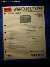 Sony Service Manual WM FX463 /FX465 Cassette Player (#4427)