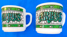 Lot of 2 Milk Glass Arby's 9 oz Coffee Mugs Cup by Federal Glass Co Vintage Nice