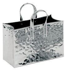 portariviste in acciaio inox a forma di borsetta e portafiori  H cm 32