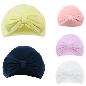 Baby Girls Cotton Turban Hat Cap Bow Newborn 0-6 Months