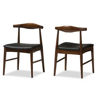 2x Elbow Style Dining Chairs Danish Mid-Century Mod Dark Walnut Solid Wood Frame
