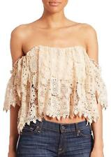 NWT TULAROSA WOMEN'S AMELIA CROP LACE TOP COLOR EGGSHELL SIZE SMALL MSRP 189