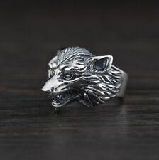 F05 Herren Ring Sterling Silber 925 Hund Wolfskopf Wolf größenverstellbar