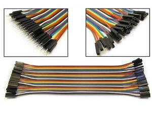 40pcs 20cm Dupont MALE-FEMALE Jumper GPIO Breadboard Wire Ribbon Pi Arduino x2