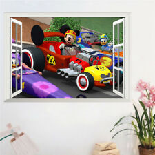 Mickey Wall Stickers Window Duck Racing Car 3D Decal PVC For Kids Rooms Mural