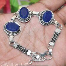 """Blue Sapphire Gemstone Bracelet Handmade Jewelry Size 7""""- 8"""" U264-A129"""