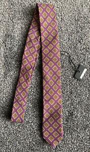 Ted Baker Purple Gold Diamond Pattern Wool Tie Italian