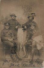 WW1 Soldier group Royal Field Artillery France Steel Helmet Goatskin J J Riella