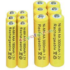 6 AA 3000mAh + 6 AAA 1800mAh battery Bulk Nickel Hydride Rechargeable 1.2V Yel