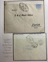 1916 Barcelona Spain WWI Censored Cover To Zurich Switzerland
