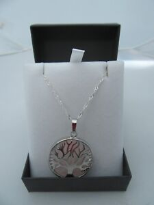 STUNNING ROSE QUARTZ TIDE JEWELLERY 'TREE OF LIFE' PENDANT NECKLACE GIFT BOXED