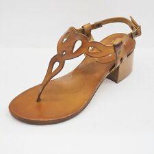 Sandali infradito donna tacco medio 5 centimetri in cuoio, cinturino posteriore