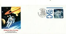 1989 EMBOSSED BUSINESS ENVELOPE 25 CENT SPACE HOLOGRAM FLEETWOOD CACHET UNAD FDC