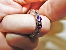 Estate Designer  Lovely Purple CZs w White CZ Acts 925 Sterling Silver Ring 9.75