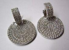 Ohrringe Creole mit Einhänger in Silber 925 rhodiniert über 220 Zirkonia!