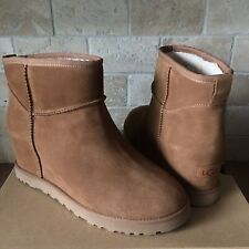 UGG CLASSIC FEMME MINI CHESTNUT SUEDE WEDGE ANKLE BOOTS BOOTIES SIZE 7 WOMENS